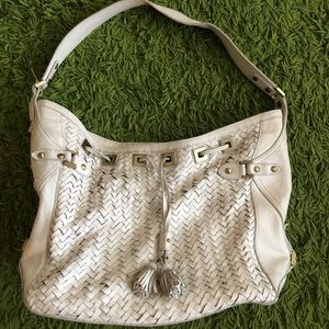 Cole Haan Village Weave White woven leather bag